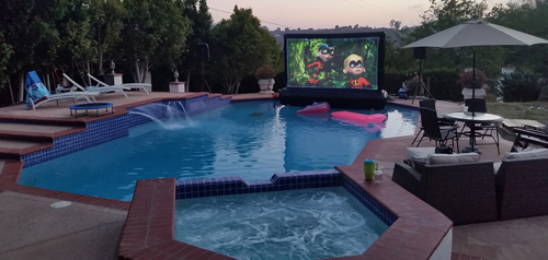 floating inflatable movie screen in pool