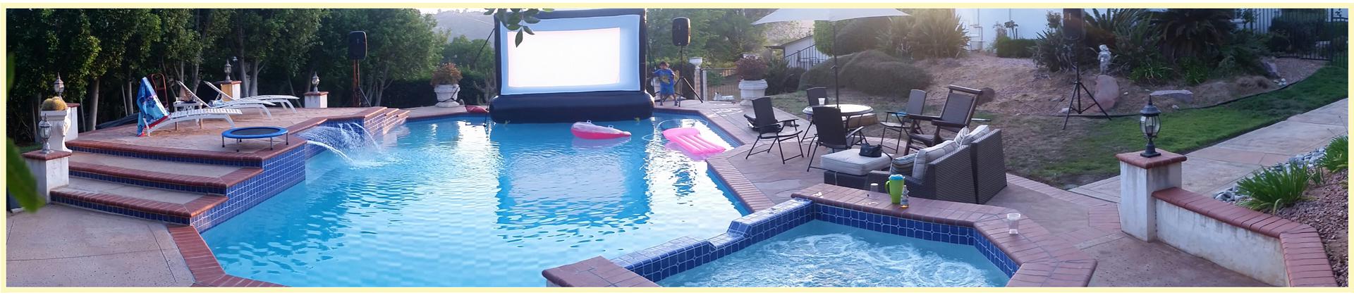 floating swimming pool movie screen rental