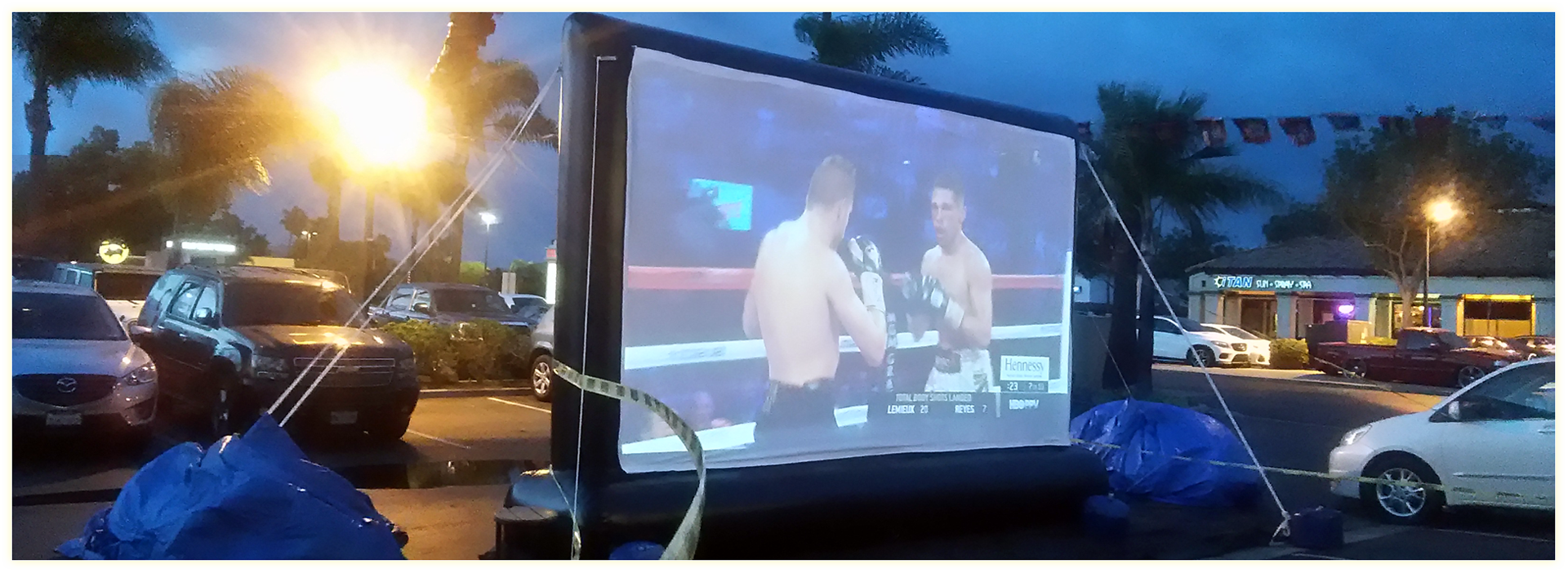 outdoor movie screen weather policy